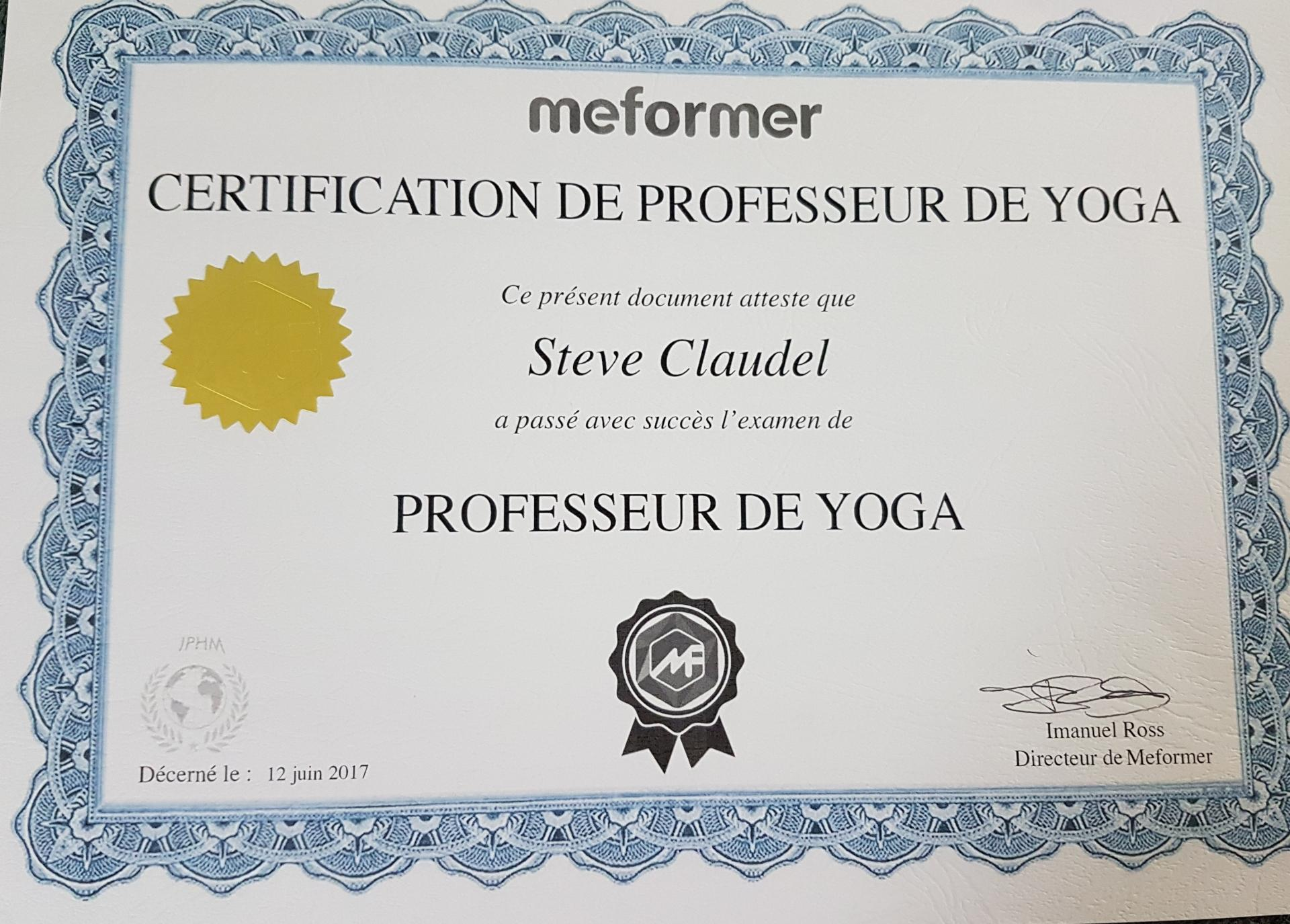 Certification professeur de yoga