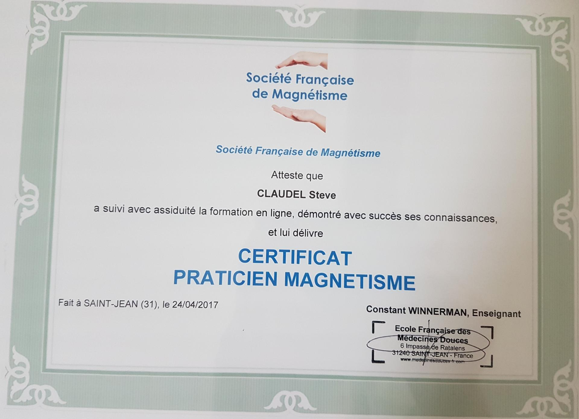 Certification magnetisme